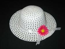 "NEW ""WHITE DAISY"" Dress Up Party Girls Easter Straw Hat Clothes Toddler Kid Tea"