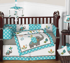 Turquoise Blue and Grey Sweet Jojo Jungle Elephant for Baby Crib Bedding Set