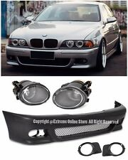 M5 Style Front Bumper Cover W/ Fluted Fog Lights For 96-03 BMW E39 5-Series 4Dr