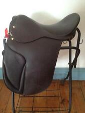 "DRESSAGE SADDLE 16"" BLACK LEATHER   NEW  Medium Tree DEEP SEAT"
