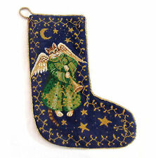 Katha Diddel Home Collection NY NY Wool Needlepoint CAT ANGEL Christmas Stocking