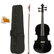New Valentine's Gift Full Size 4/4 Black Acoustic Violin +Case +Bow +Rosin