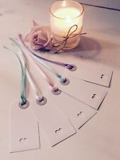 White vintage wedding place cards - luggage tags gift - heart - Pastel ribbons
