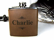 Personalized Engraved Brown Leather Hip Flask Custom Groomsmen Gifts Pinstripes