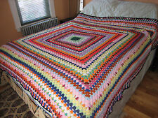 "Vintage Granny Graduated Square Handmade Crochet Afghan Throw Blanket 80""x84"""