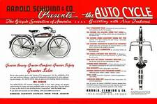 antique bicycle 1936 Schwinn AUTOCYCLE AD reprint POSTER 12x18 sign