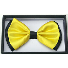 New Tuxedo PreTied Neon Yellow with Black Trim Bow Tie Satin Adjustable Bowtie