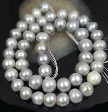 8-9mm Genuine Freshwater Coated Silver Gray Pearl potato Beads 16""