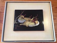 Oriental Chinese Brush Painting Ink Silk Art-Plum 15.5 x 13""