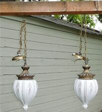 Vintage Pair Ceramic Brass Hanging Swag Lamps Gold Accents Shabby Chic Cottage