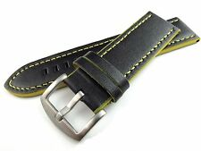 22mm Italy waterproof soft leather Watch Strap black replacement new wristband