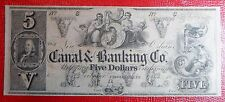Beautiful Uncirculated Uncancelled 1860 's Canal & Banking $5 Note