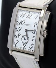 PATEK PHILIPPE 5024G Gondolo  18K White Gold White Dial On Leather Band Watch