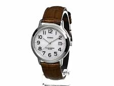 Casio MTP-S100L-7B2 New Solar Powered Brown Leather Band Men's Watch MTP-S100L