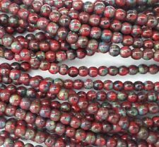 100 Red Picasso Opaque Czech Pressed Glass Round Beads 4mm