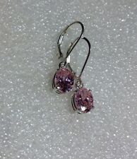 Sterling Silver Oval Cut Pink Cubic Zirconia Dangle Lever Back Earrings 4.15 CTW