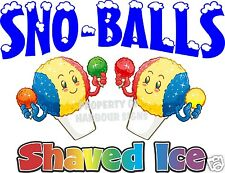 "Sno-Balls Shaved Ice Decal 24"" Cup Snow Cones Concession Cart Trailer Sticker"