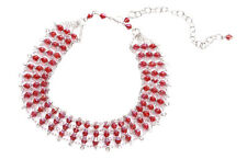 Layla Red Diamante Stack & Chrome Chain Choker Necklace(Zx66/165)