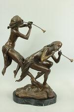 Two  Nude Nymph  Nymphs  Bronze Art Deco Nouveau Sculpture Statue Figurine Signe