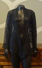 UNBRANDED Black Delicate Floral Lace Sheer Long Sleeve Drape Shrug Top - Small