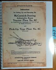 IH International McCormick-Deering Adjustable Beam Tractor Plow 8C Op Manual '40