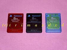 3 ORIGINALE ps2 Sony memorycards (8 MB ciascuno) nero, rosso, blu _ Memory