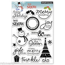 New Penny Black LET IT SNOW Clear Stamps Christmas Joy Merry Holidays Snowman