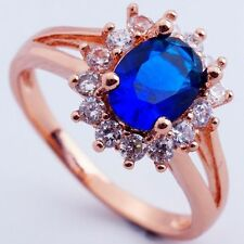 Size 9 BLUE C.Z FASHION FLOWER DESIGN ROSE GOLD PLATED RING+GIFT POUCH(8410)