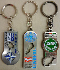 Set n.3 Portachiavi Commemorativi Missioni Militari K-FOR / UNIFIL / ISAF