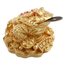 Gold Feng Shui Money LUCKY Fortune Oriental Chinese I Ching Frog Toad Coin