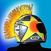 Helmet hair. SCARE MAGPIES AWAY with this YELLOW helmet mohawk. HR-1005-2