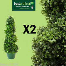 2 Best Artificial 2ft 60cm Spiral Boxwood Buxus Topiary Trees plastic bay plant