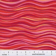 Laurel Burch Basics OCEAN WAVES ORANGE Sea Spirits Fabric By the FQ - 1/4 YD