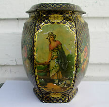 ANTIQUE  1800s F WHEATLEY BISCUIT/TEA TIN 6 SIDED LITHO TIN