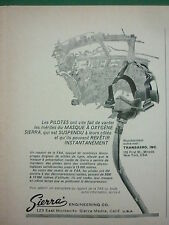 5/1967 PUB SIERRA ENGINEERING MASQUE A OXYGENE PILOT PILOTE AIRLINER FRENCH AD