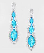 """4.5"""" Big Long Aqua Aquamarine Silver Blue Crystal Rhinestone Earrings Chandelier"""