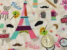 Fabric Paris Eiffel Tower Motifs On White Cotton by the 1/4 yard BIN
