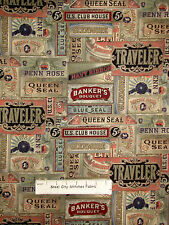 Tim Holtz Eclectic Elements Cigarbox Advertisement Motif Cotton Fabric YARD