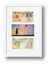 TWO FRAMED MOUNTED DI-FACED TENNERS £10 NOTE BANKSY BALLOON GIRL PRESENTATION