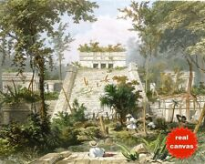 MAYAN TEMPLE RUIN TULUM YUCATAN MEXICO CATHERWOOD PAINTING ART REAL CANVAS PRINT