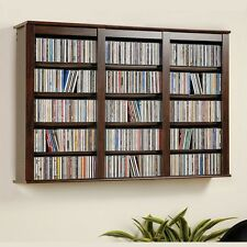 Wall Mounted Media Storage Shelves Cabinet Floating Espresso Hanging CD DVD