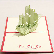Creative 3D Ship Pop Up Greeting Card Birthday Gift Good Luck Christmas Xmas Gif