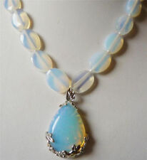 Stunning 13x18mm White Moonstone & Opal Pendant Necklace 18""
