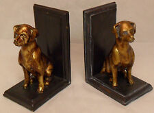 Dog Book Ends Poly-Stone Antique Gold Finish Bookends NEW