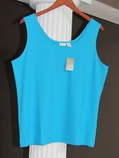 CHICO'S Angulla Turquoise Microfiber Tank Top Shell Cami Size 2 (12-14) NWT $39