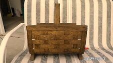 917D Vtg Shaved Wood Fireplace Log/Kindling Basket Footed w/Handle 17x14 EXC CON