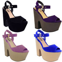 NEW WOMENS HIGH HEEL WEDGE SANDALS LADIES PLATFORM LACE UP SHOES SIZE UK 3 - 8