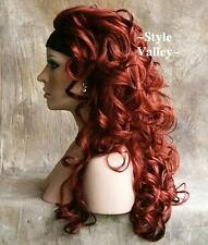 Head Turner!!! Red 3/4 Fall Hairpiece Half Wig Long Curly Hair Piece