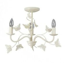 VINTAGE Cream Metal 3 Arm Ceiling Light Chandelier Butterflies Girls Bedroom NEW