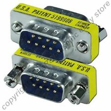 Lot100 DB9pin Male-M Serial RS232 Mini Gender Changer/Coupler Cable/Cord Adapter